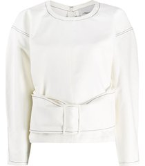 3.1 phillip lim twill belted pullover top - white