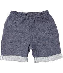 shorts bebê moletinho ano zero  trend fleece barras viradas marinho - kanui