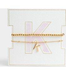 delicate initial bracelet set - k