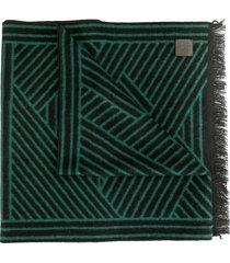 shanghai tang brushed geometric scarf - green