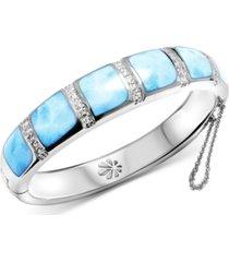marahlago larimar & white topaz (1/4 ct. t.w.) bangle bracelet in sterling silver