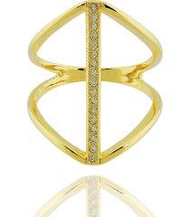 anel dona diva semi joias largo faixa dourado
