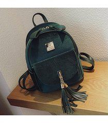mochilas/ mochila de terciopelo mujeres borlas-verde