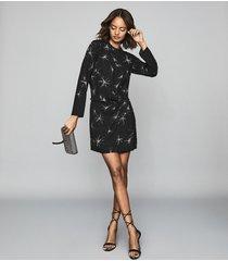 reiss gabby - star embellished mini dress in black, womens, size 14