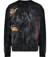 a-cold-wall* glass blower distressed-print cotton sweatshirt - black