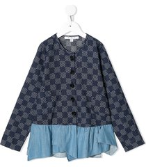 owa yurika denim-panelled checkered cardigan - blue