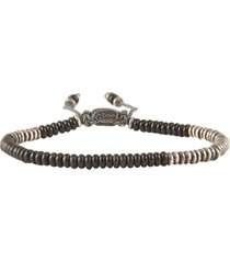 round table stacked mini frosted black bracelet