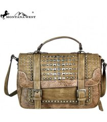3 colors montana west multi studded tooling satchel crossbody bag mw543