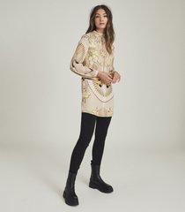 reiss jessie - printed shift dress in neutral, womens, size 14