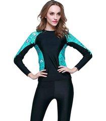 traje de ba?o de mujer deportivo ropa de surf color negro azul
