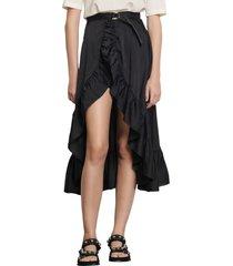 women's sandro ruffle wrap skirt, size 0 - black