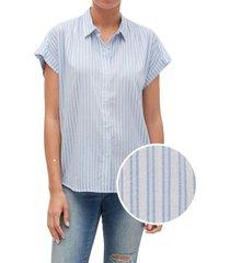 blusa manga corta drapey rayada celeste gap