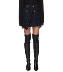 asymmetric tweed wrap mini skirt