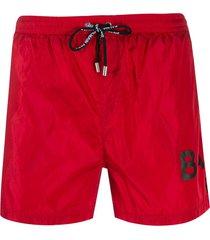 balmain logo-print swim shorts - red