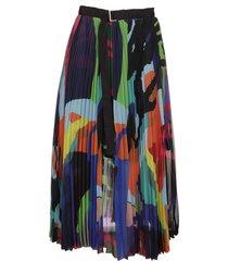 sacai kaws print chiffon skirt