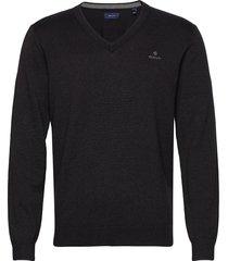 classic cotton v-neck stickad tröja v-krage svart gant