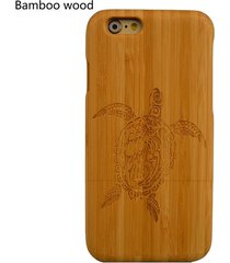 new natural for iphone 7 7plus 6s plus turtle engraved wooden wood  phone case