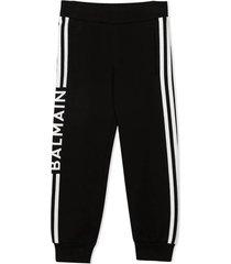 balmain black cotton track suit