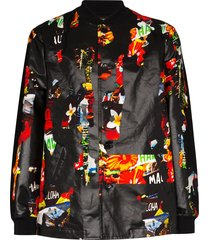 comme des garçons homme plus floral print coated bomber jacket - black