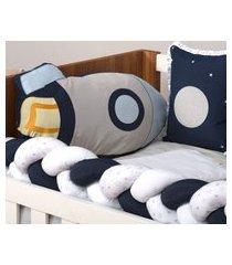 kit de berço menino astronauta 100% algodão space azul fogeute