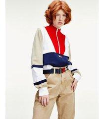 tommy hilfiger women's colorblock mock neck sweater twilight navy / multi - xs