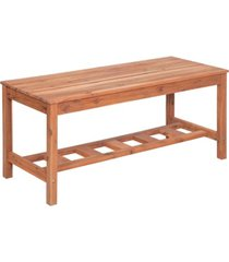 acacia wood ladder base coffee table - brown