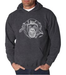 la pop art men's chimpanzee word art hooded sweatshirt