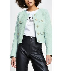 river island womens green faux leather diamond quilted jacket