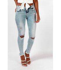 bolsillos azules detalles rasgados al azar jeans de cintura baja