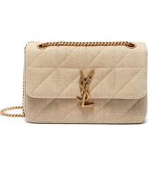 'jamie' quilted linen top flap shoulder bag