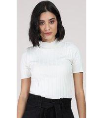 blusa feminina canelada manga curta gola alta branca