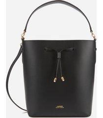 lauren ralph lauren women's debby medium drawstring bag - black/red
