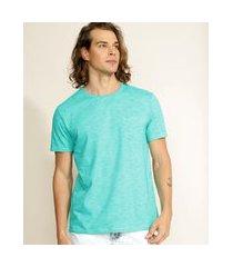 camiseta masculina básica com bolso manga curta gola careca verde água