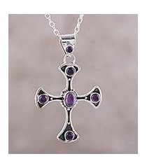 amethyst pendant necklace, 'beautiful faith' (india)
