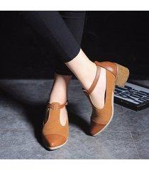 zapatillas oxford con tacón medio para mujer-marrón