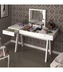 penteadeira libéria 2 gavetas com espelho branco - pnr móveis