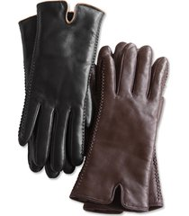 premium leather shearling-lined gloves / double-faced shearling gloves