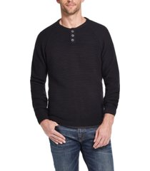 weatherproof vintage men's textured long sleeve henley sweater
