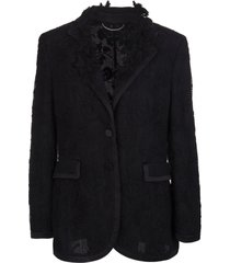 black jacket with mesh layer and floral embroidery