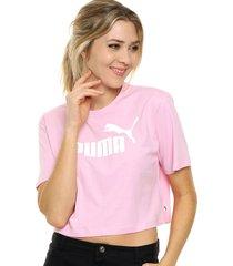 top rosa puma  ess cropped logo tee