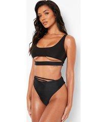 bikini top met uitsnijding en lage ronde hals