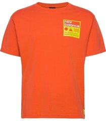 athletics trail stamp t-shirt t-shirts short-sleeved orange new balance