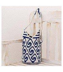 cotton bucket bag, 'indigo and white waves' (guatemala)