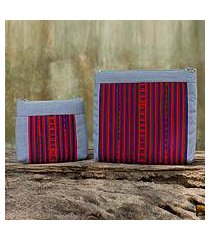 cotton blend cosmetic bags, 'exotic lisu in gray' (pair) (thailand)
