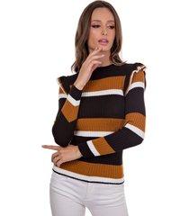 blusa myah antonieta marrom em tricô