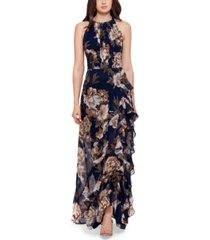 betsy & adam ruffle-trim halter gown