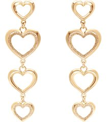 orecchini pendenti in ottone oro rosa con cuori con glitter per donna
