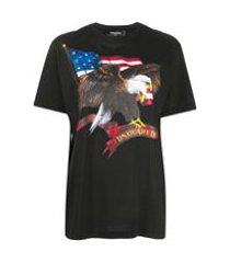 dsquared2 camiseta com estampa de bandeira americana - preto