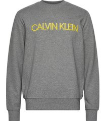 3d embroidery logo sweatshirt sweat-shirt trui grijs calvin klein