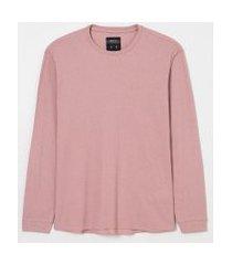 camiseta manga longa malha waffle lisa | blue steel | rosa | pp